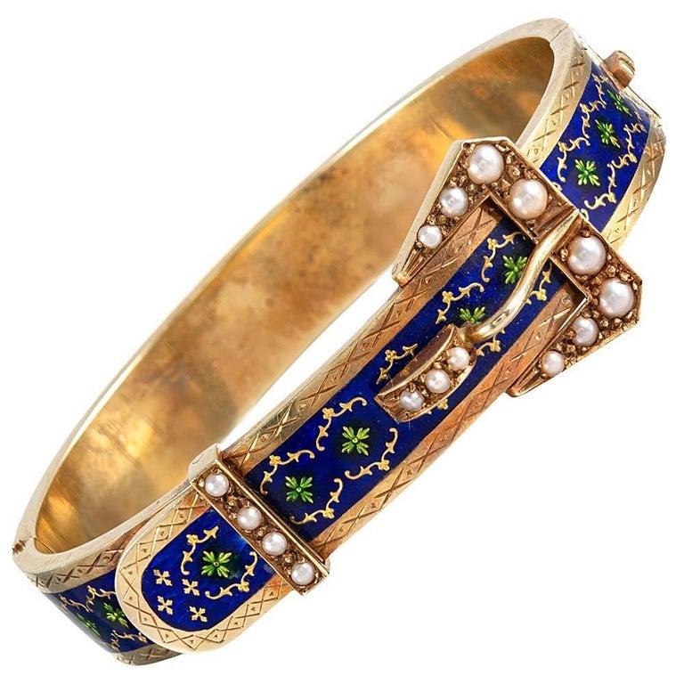 Victorian Royal Blue Enamel and Pearl Buckle Bracelet For Sale