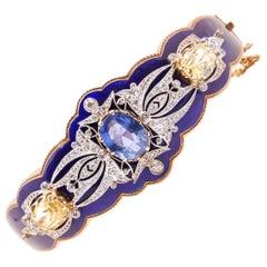 Antique Victorian Blue Enamel Bangle 3.48 Ct Burmese No-Heat Sapphire 14KY Gold