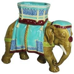 Victorian Royal Worcester Majolica Elephant Figure