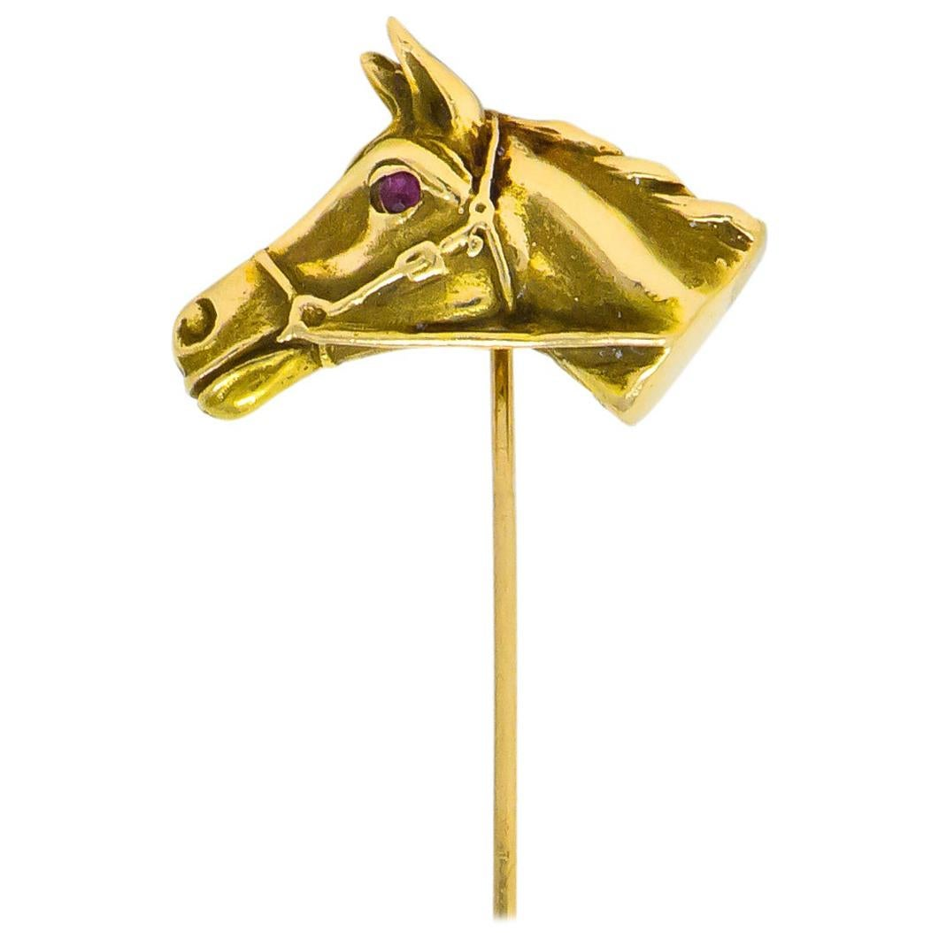 Victorian Ruby 14 Karat Yellow Gold Horse Stickpin
