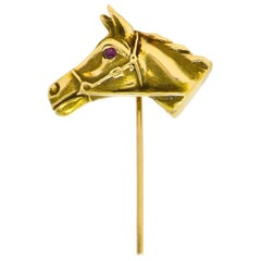 Victorian Ruby 14 Karat Yellow Gold Horse Stickpin