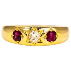 Victorian Ruby and Diamond 18 Carat Gold Band