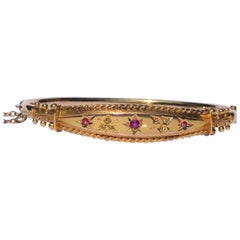 Victorian Ruby and Diamond 9 Carat Gold Bangle