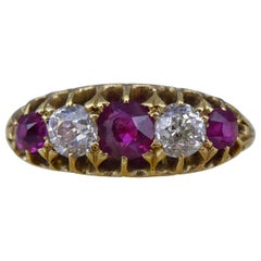 Victorian Ruby and Diamond Boatshape Ring