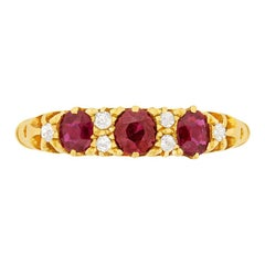 Victorian Ruby and Diamond Carved Shank Ring, circa 1900s