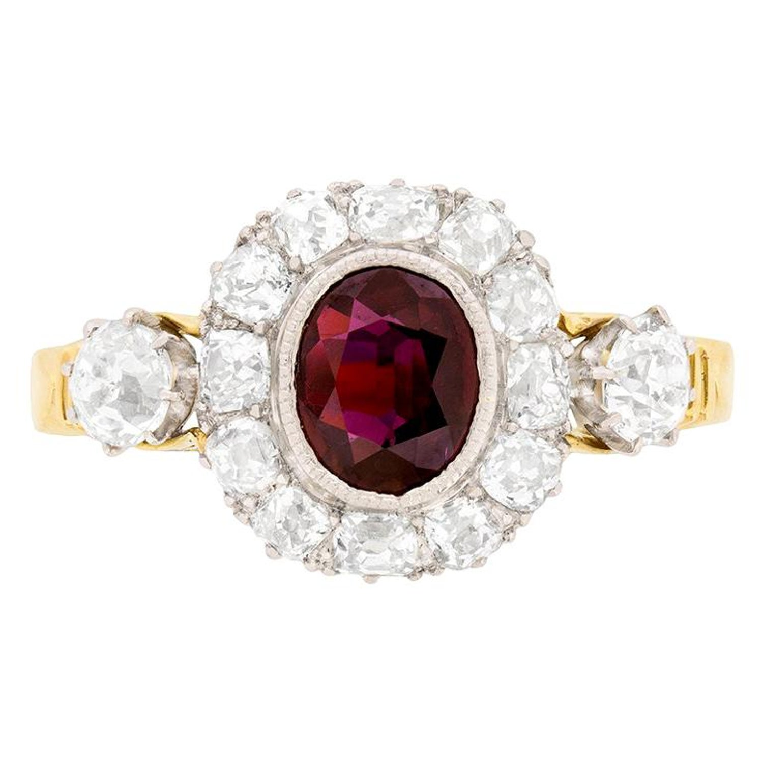 6be0a04e69cc7 Victorian Ruby and Diamond Cluster Ring, circa 1900s