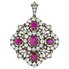 Victorian Ruby and Diamond Cross Pendant Brooch