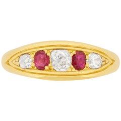 Victorian Ruby and Diamond Five-Stone Ring, circa 1900s