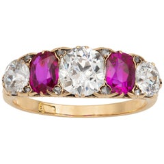 Victorian Ruby and Diamond Five-Stone Ring