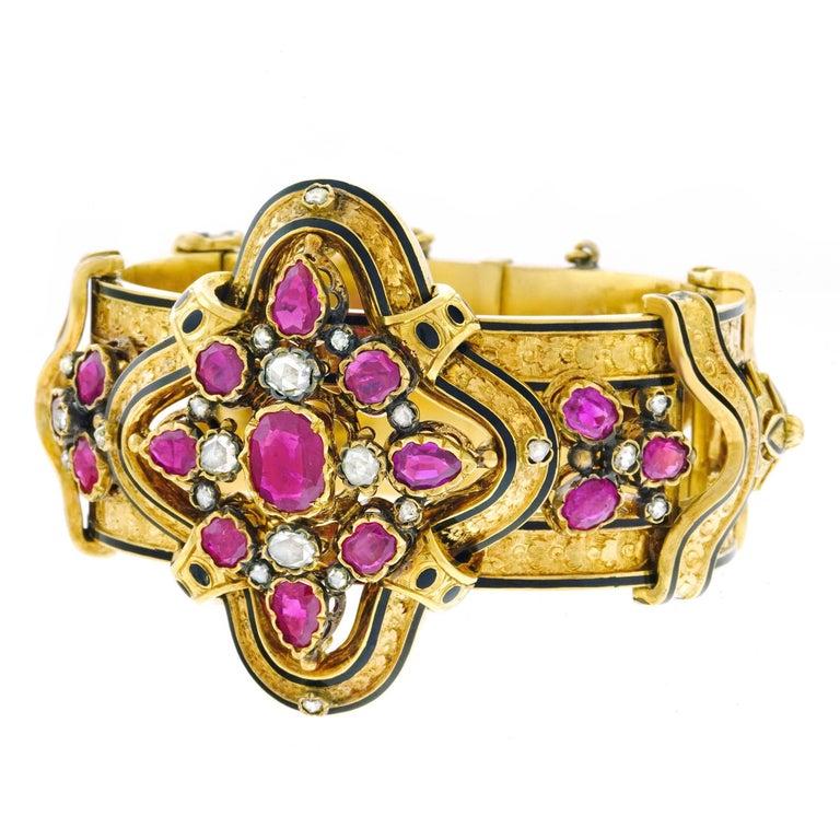 Victorian Ruby and Diamond Set Gold Bangle Bracelet