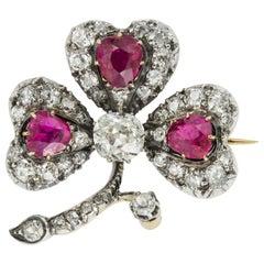 Victorian Ruby and Diamond Three Leaf Clover Brooch