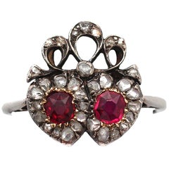 Victorian Ruby and Diamond White Gold Heart Shaped Ring