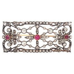 Victorian Ruby and Diamond Yellow Gold and Silver Brooch