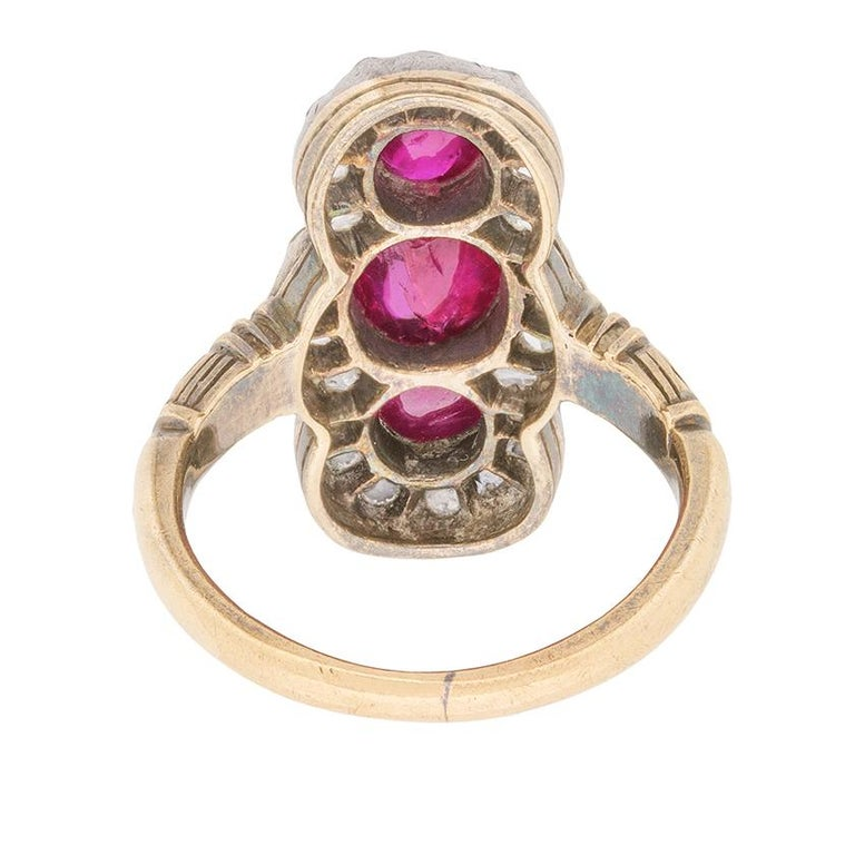 Women's or Men's Victorian Ruby and Rose Cut Diamond Ring, circa 1870s For Sale