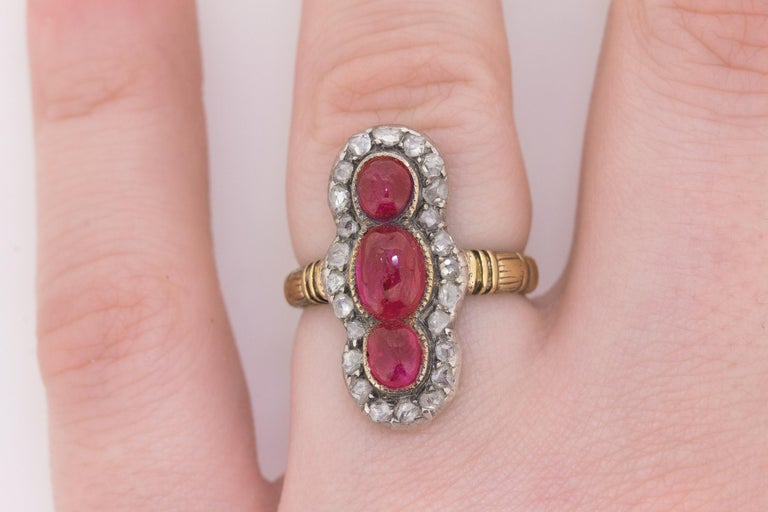 Victorian Ruby and Rose Cut Diamond Ring, circa 1870s For Sale 1