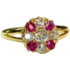 Victorian Ruby Diamond 18 Karat Gold Antique Ring