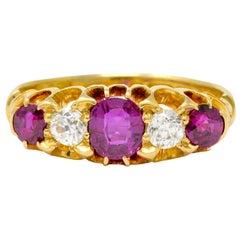 Victorian Ruby Diamond 18 Karat Gold Five-Stone Ring