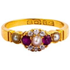Victorian Ruby, Diamond and Pearl 18 Carat Gold Cluster Ring