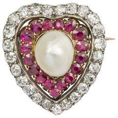 Victorian Ruby, Diamond and Pearl Heart Brooch