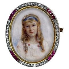 Victorian Ruby Diamond Bone Miniature Girl Portrait Brooch