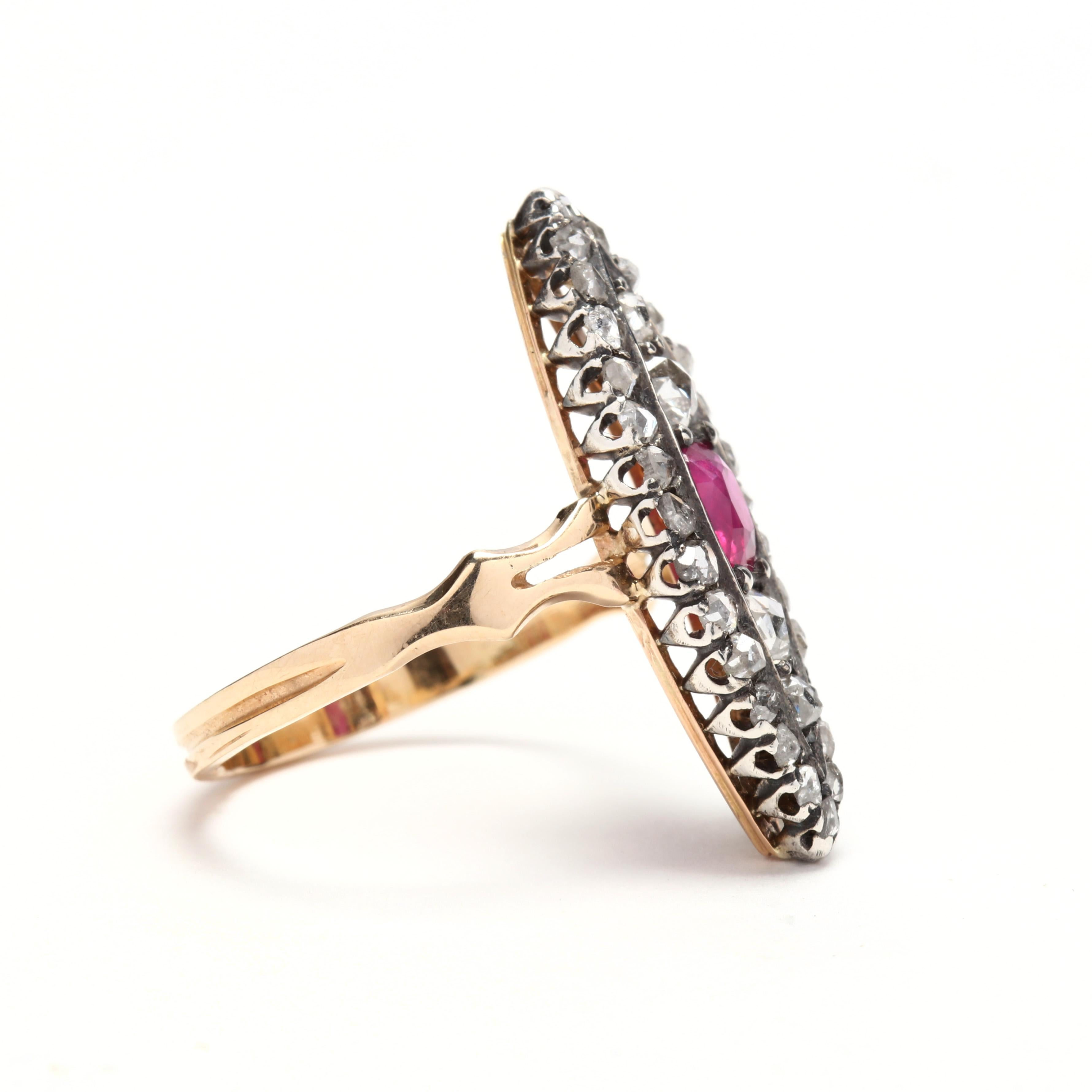 529cae876a795 Victorian Ruby and Diamond Navette Ring