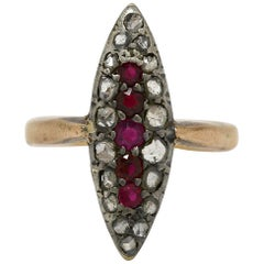 Victorian Ruby Diamond Rose Gold Silver Long Shield Antique Cocktail Dinner Ring