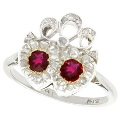 Victorian Ruby Diamond White Gold Heart Shaped Ring