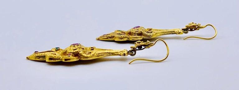 Women's Victorian Ruby Emerald Gold Earrings For Sale