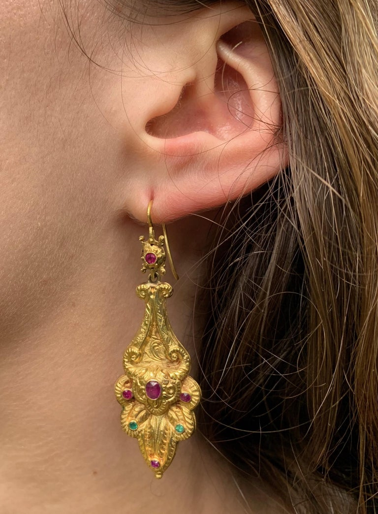 Victorian Ruby Emerald Gold Earrings For Sale 2
