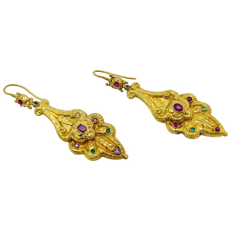 Victorian Ruby Emerald Gold Earrings For Sale