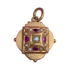 Victorian Ruby Pearl Locket 14 Karat Gold Pendant Necklace