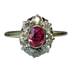 Victorian Ruby Ring Old Mine Cut Diamond Halo 14 Karat Gold Antique Engagement