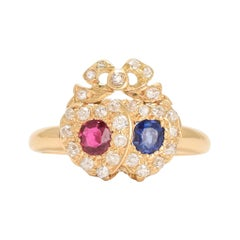 Victorian Ruby Sapphire and Diamond Bowed Double Heart Ring