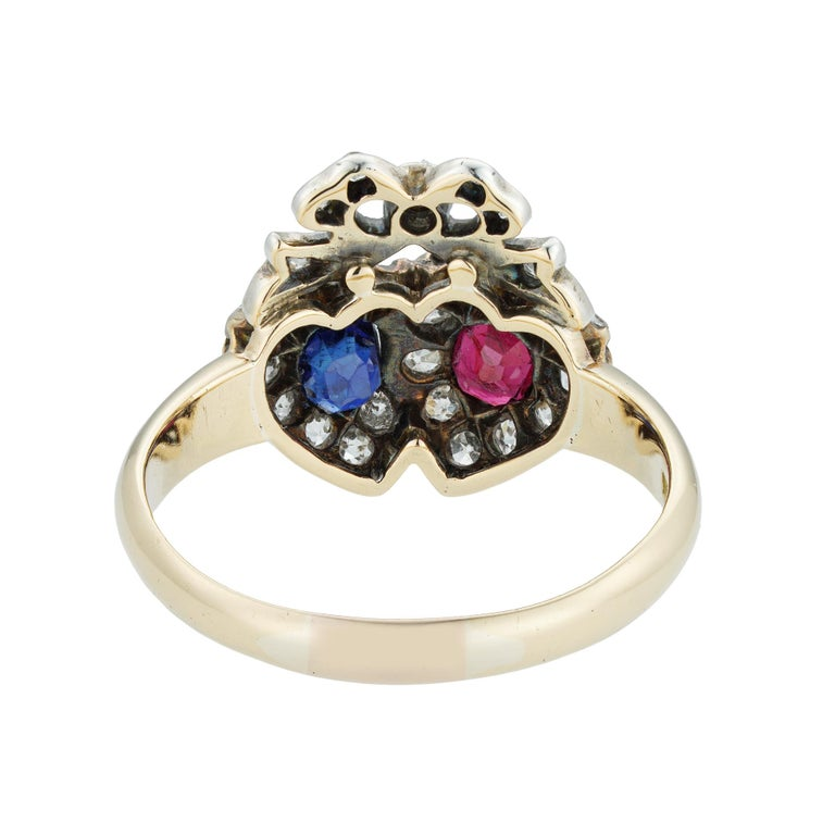 Brilliant Cut Victorian Ruby, Sapphire and Diamond Double Heart Ring For Sale