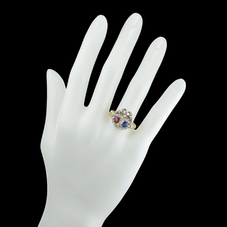 Victorian Ruby, Sapphire and Diamond Double Heart Ring In Good Condition For Sale In London, GB
