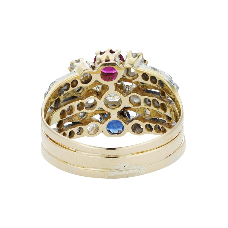 Old European Cut Victorian Ruby, Sapphire and Diamond Harem Ring For Sale