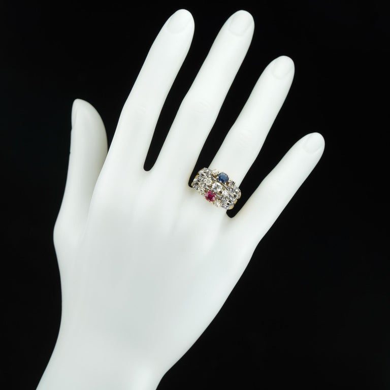 Women's or Men's Victorian Ruby, Sapphire and Diamond Harem Ring For Sale
