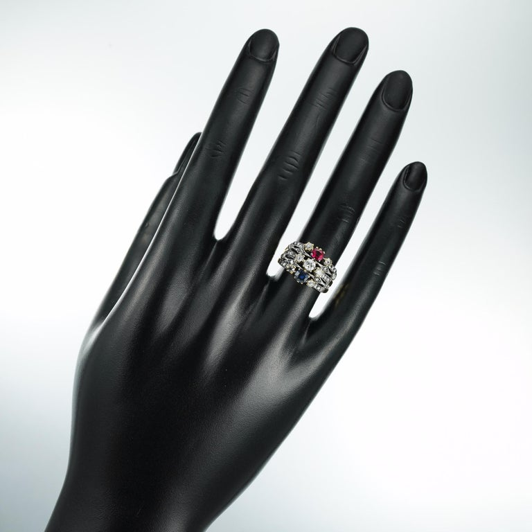 Victorian Ruby, Sapphire and Diamond Harem Ring For Sale 1