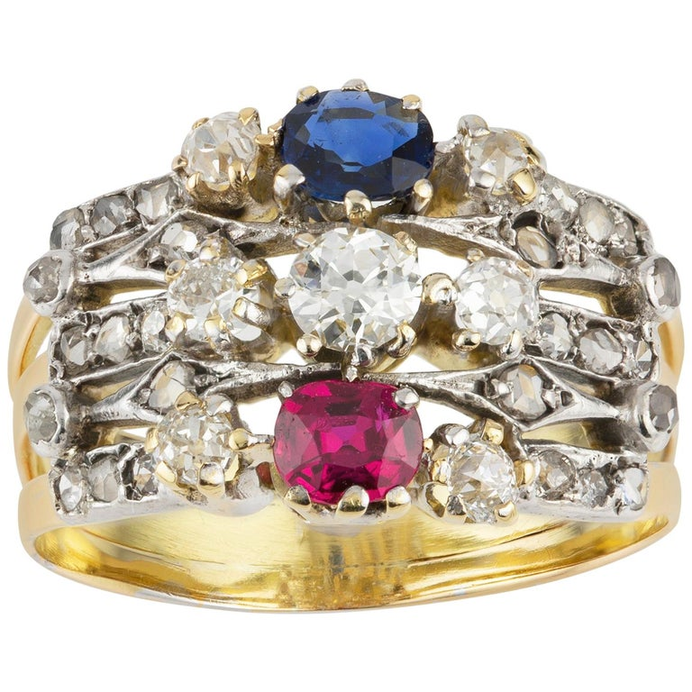 Victorian Ruby, Sapphire and Diamond Harem Ring For Sale