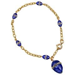 Victorian Russian Lapis Lazuli, Crystal Rondel Egg 14 Karat Gold Bracelet