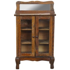 Victorian Salesman Sample Miniature Oak Bookcase Curio Cabinet with Mirror