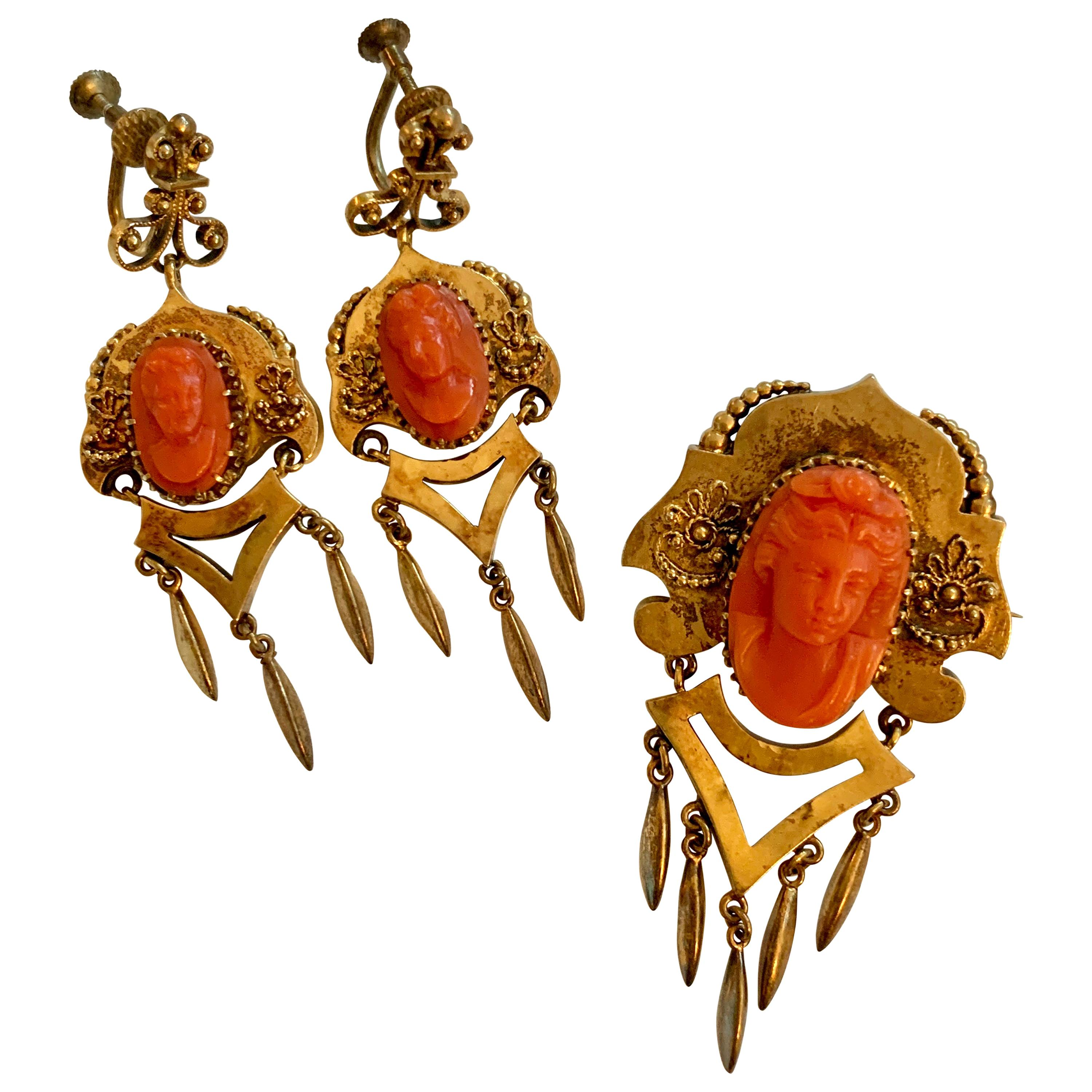 Victorian Salmon Coral 2-Piece Cameo Brooch and Earring 14 Karat Yellow Gold Set