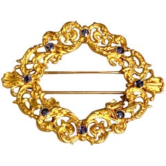 Victorian Sapphire 18 Karat Yellow Gold Fur Clip Brooch Pin
