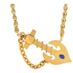 Victorian Sapphire Anchor Necklace