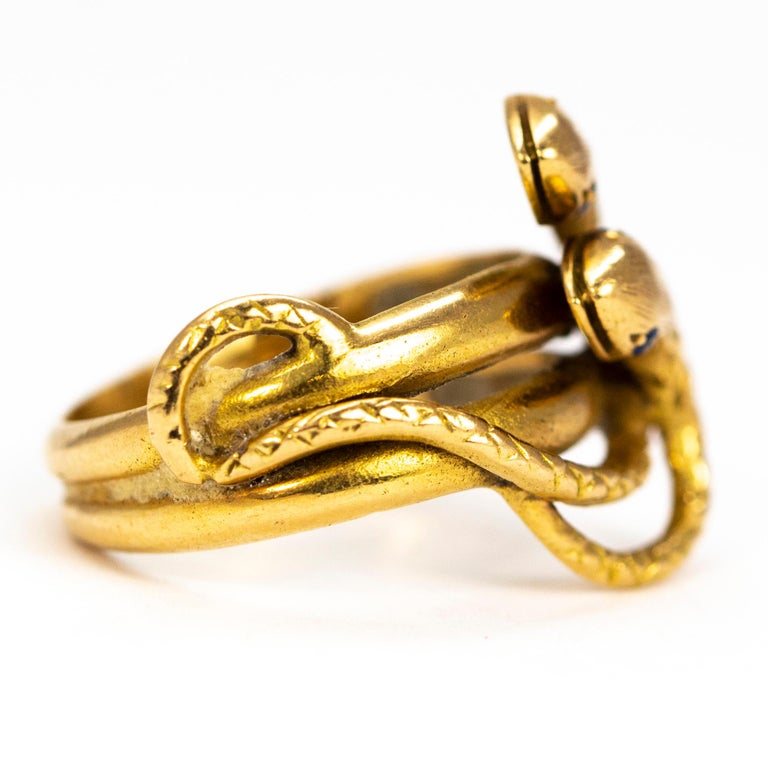 Victorian Sapphire and 18 Carat Gold Snake Ring In Good Condition In Chipping Campden, GB