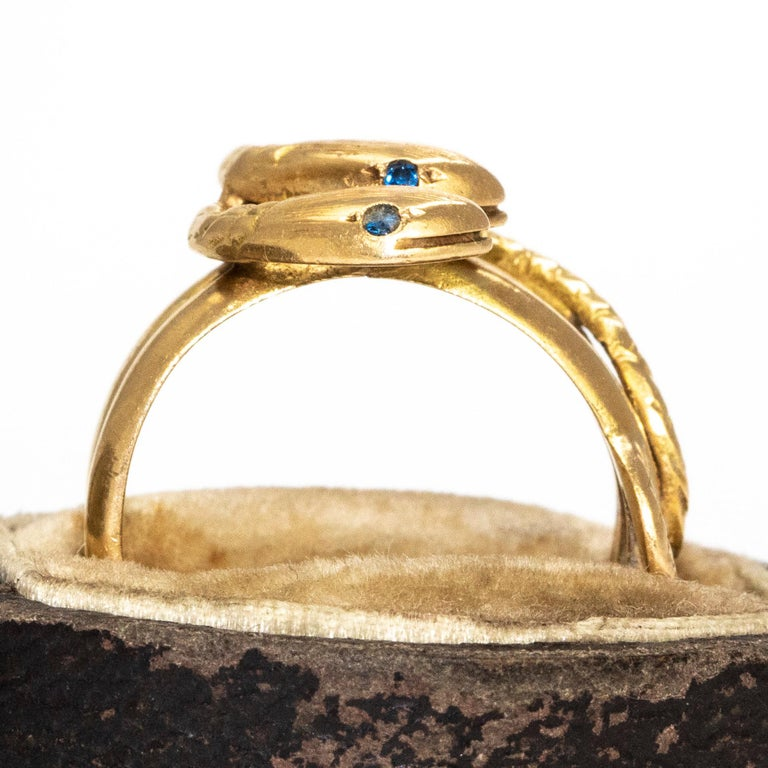 Victorian Sapphire and 18 Carat Gold Snake Ring 1