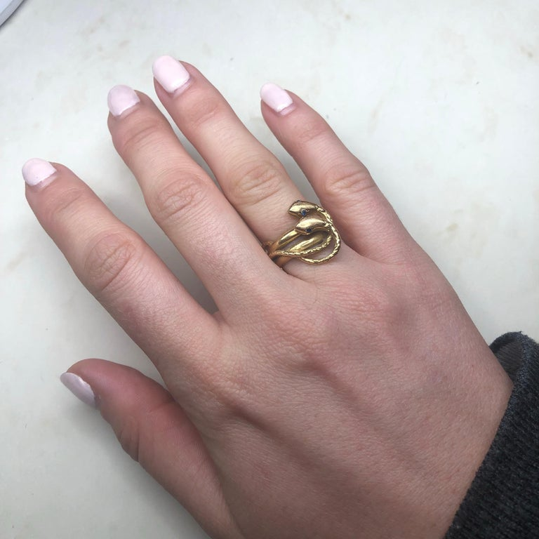 Victorian Sapphire and 18 Carat Gold Snake Ring 2