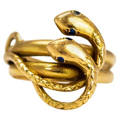 Victorian Sapphire and 18 Carat Gold Snake Ring