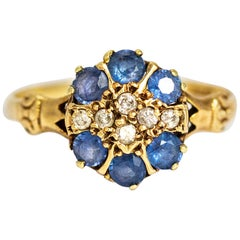 Victorian Sapphire and Diamond 15 Carat Gold Cluster Ring