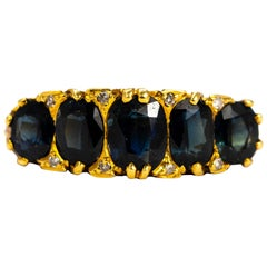 Victorian Sapphire and Diamond 18 Carat Gold Five-Stone Ring